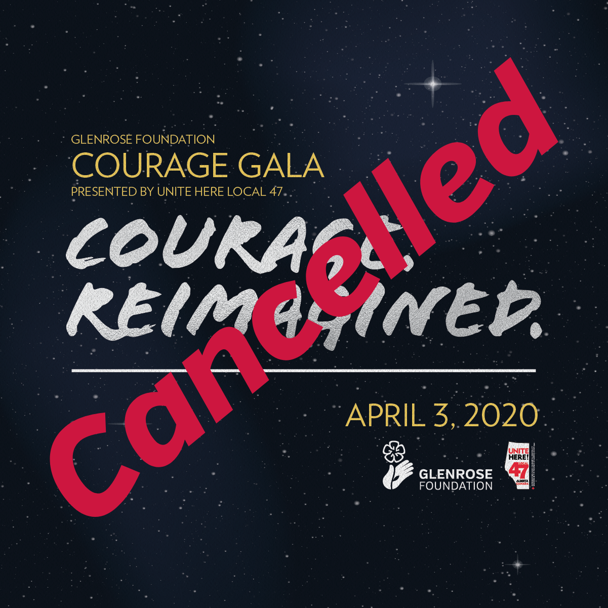 Courage Gala cancelled