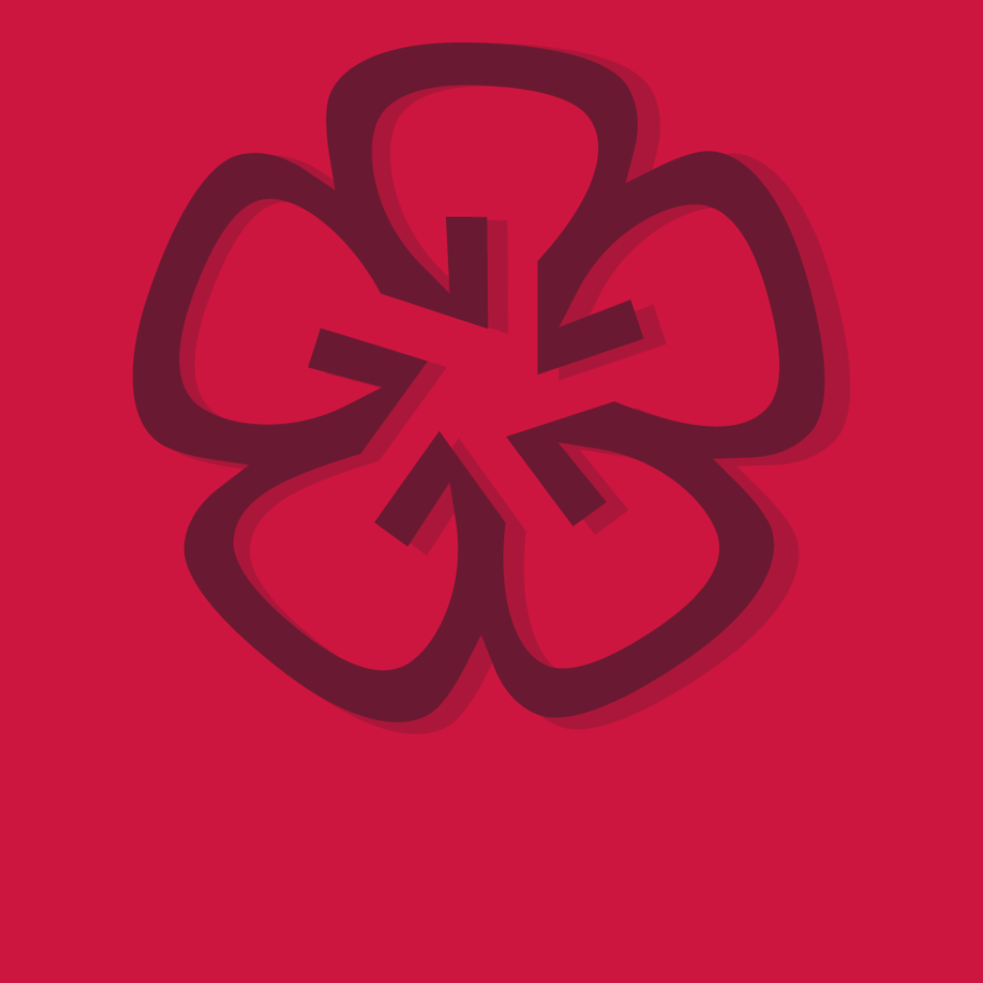 Maroon flower on a red background